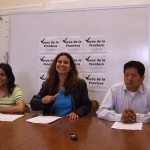 From left: Angie Bucio, Christine Neumann-Ortiz (VFA's Exec. Director) and Juan Ruiz (Electoral Organizer at VFA)